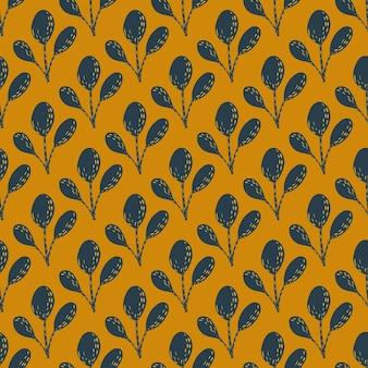 ネイビーブルーの抽象的な枝飾りシームレスパターン。