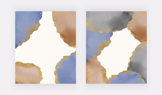 金色のキラキラテクスチャ背景を持つネイビーブルーとブラウンのブラシストローク水彩画