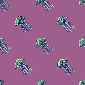 Бесшовный фон темно-синие и зеленые силуэты медуз.