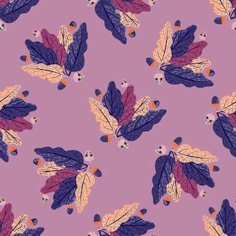 네이비 블루와 퍼플 컬러의 잎은 매끄러운 패턴입니다. 파스텔 라일락 배경입니다. 포장지 및 패브릭 질감을 위한 그래픽 디자인. 벡터 일러스트 레이 션.