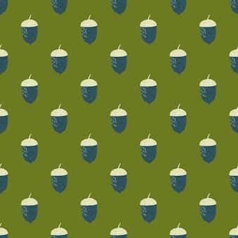 紺と白のどんぐり飾りシームレスパターン。緑の背景。秋のプリント。包装紙や布のテクスチャのグラフィックデザイン。