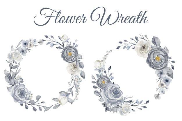 ネイビーブルーと白の水彩花輪イラスト