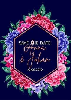 Navy blue background peony flower save the date.
