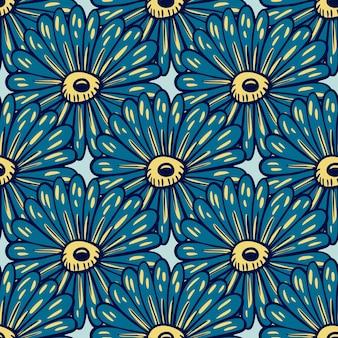 ネイビーブルーの大きなひまわりのシルエットのシームレスなパターン。創造的な抽象的な植物のプリント。水色の背景。季節のテキスタイルプリント、ファブリック、バナー、壁紙のベクトルイラスト。