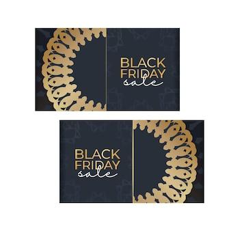 Темно-синий рекламный шаблон черной пятницы с геометрическим золотым узором