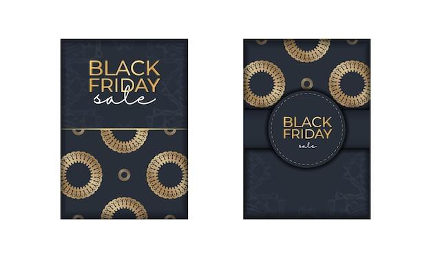 Темно-синий рекламный шаблон черной пятницы с греческим золотым узором