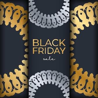 Темно-синий рекламный шаблон черной пятницы с роскошным золотым узором