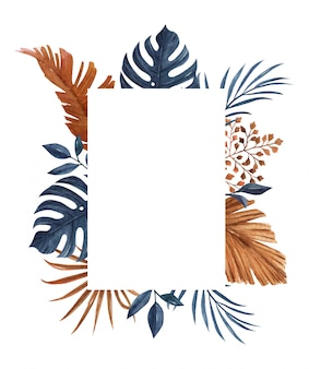 Navy blue and brown frame template with palm, monstera and other dry leaves