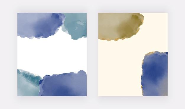 Темно-синий мазок акварелью с золотым блеском текстуры фона