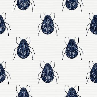 ネイビーブルーのバグシルエットのシームレスなパターン。