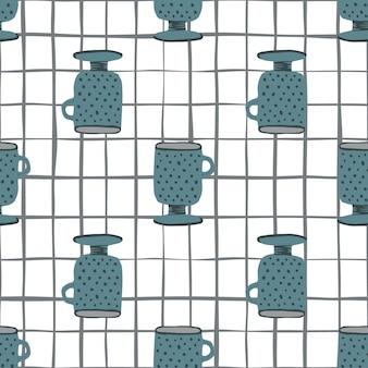 ネイビーブルーカップ落書きのシームレスなパターン。チェックと白い背景。キッチンオーナメントプリント。