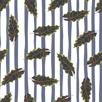 Navy blue doodle random leaves seamless pattern in hand drawn style