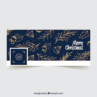 Синяя крышка facebook с золотыми листьями