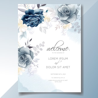 Navy blue floral wedding invitation card template with golden leaves and watercolor frame