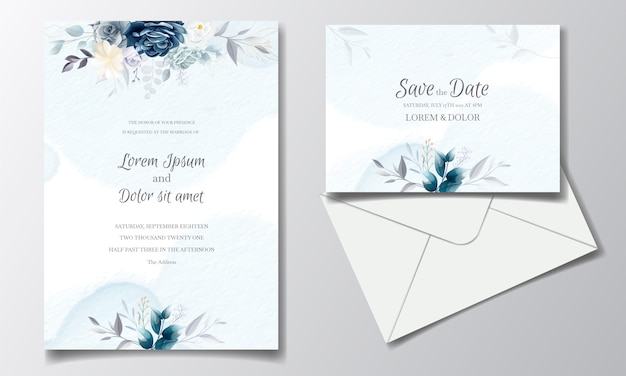 Navy blue floral wedding invitation card template with golden leaves and watercolor