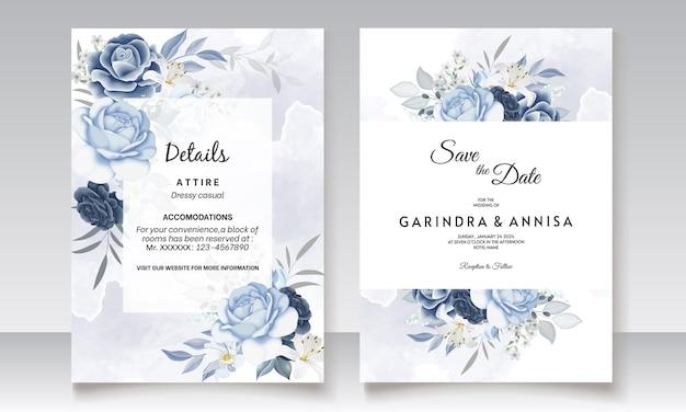 수채화와 네이 비 블루 꽃 결혼식 초대 카드 템플릿