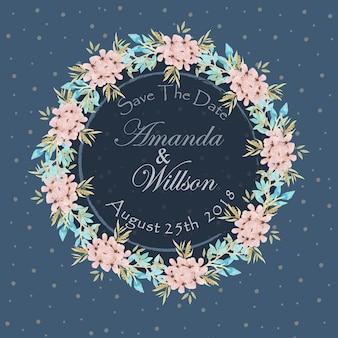 Navy Blue Floral Wedding Invitation