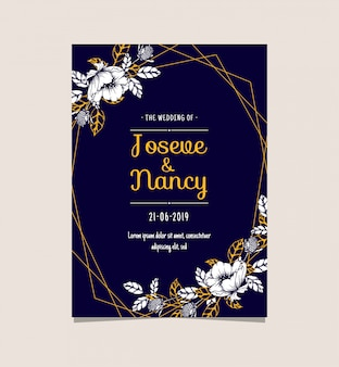 Navy blue and gold floral wedding card template