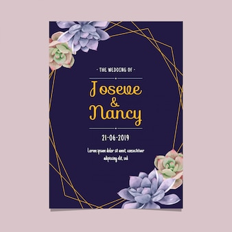 Navy blue and gold frame succulents cactus wedding card template