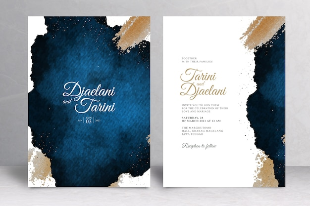 Navy blue and gold wedding invitation template