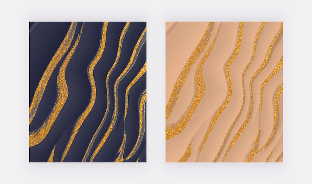 Navy blue and nude liquid with golden glitter ink abstract backgrounds.