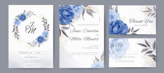 황금 꽃과 해군 파란 장미와 모란 결혼식 초대 카드. 템플릿 세트 카드.