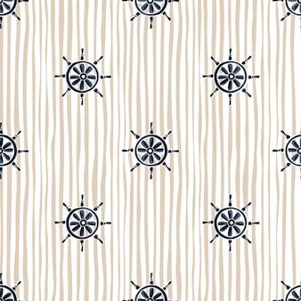 Силуэты темно-синий корабль штурвал бесшовные каракули. полосатый бежевый пастельный фон. морской стиль.