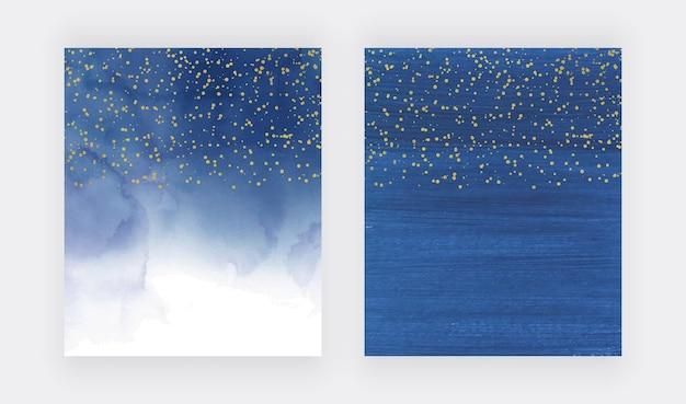 金色の紙吹雪とネイビーブルーの水彩テクスチャ