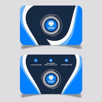 네이비 블루 물결 모양의 명함 디자인