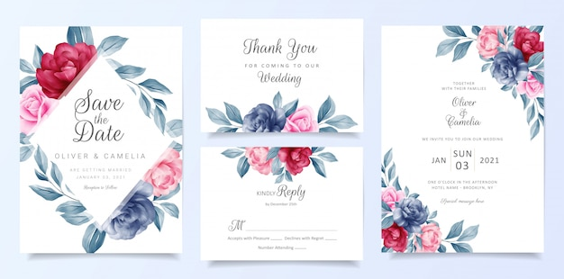 Navy blue wedding invitation card template set with floral frame and decoration