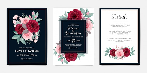 Navy blue wedding invitation card template set with flowers decoration