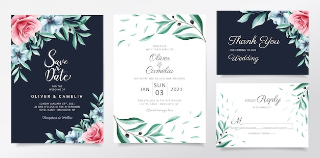 Navy blue wedding invitation card template set with watercolor flowers and leaves