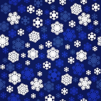 Navy blue and white snowflakes seamless pattern