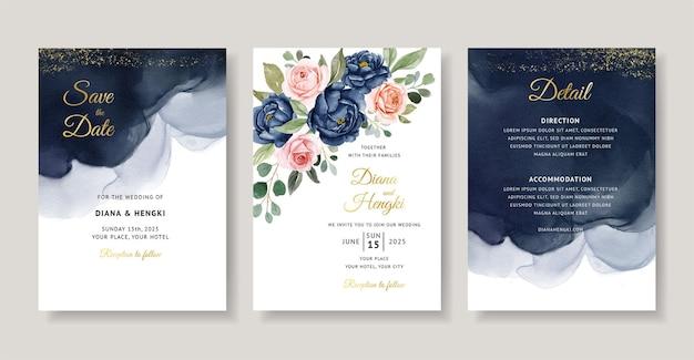 ネイビーフローラル水彩結婚式の招待カード