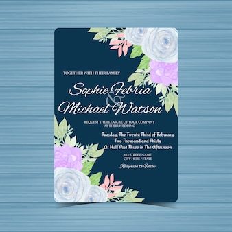 Navy floral wedding invitation card with blue roses and succulent