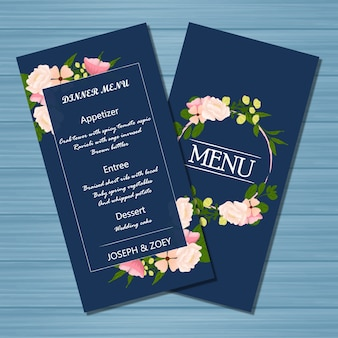 Navy Floral Wedding Menu Card with Beautiful Flowers