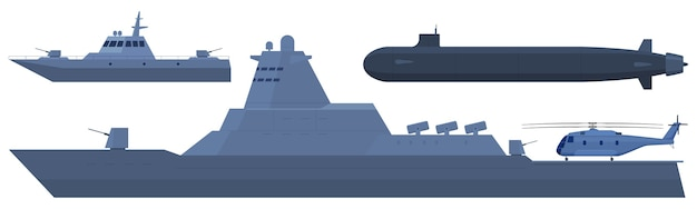 Navy, helicopter carrier, security boat, submarine.