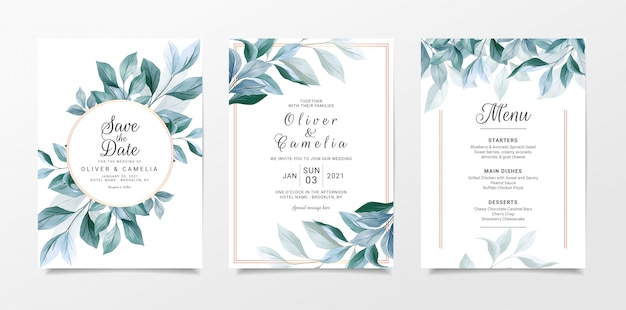 Navy leaves wedding invitation card template set with menu