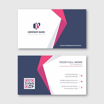 Navy and red pink clean business card