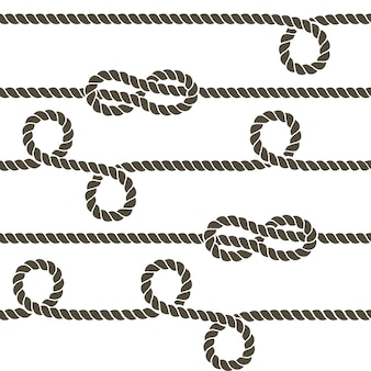 Navy rope with marine knots vector seamless pattern