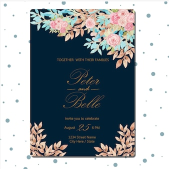 Navy Wedding Invitation With Beautiful Flower