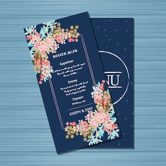 Navy wedding menu card with beautiful flower