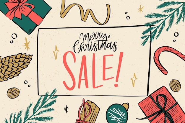 Nd drawn christmas sale with pine leaves and gifts