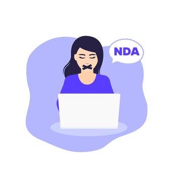 Nda, соглашение о неразглашении, векторные иллюстрации с женщиной