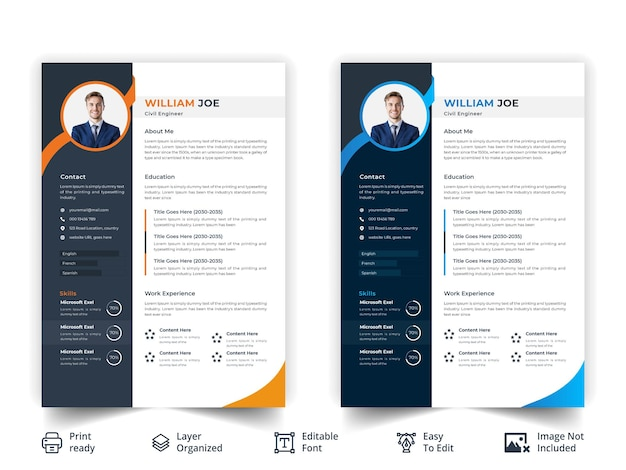きちんとしたきれいなプロの履歴書テンプレートデザインプレミアムベクトル