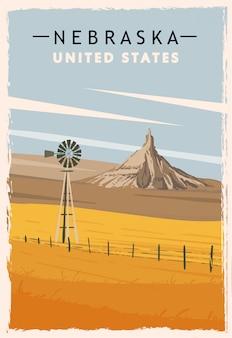 ネブラスカ州のレトロなポスター。アメリカネブラスカ旅行イラスト。アメリカ合衆国