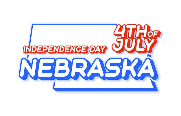 Nebraska state 4th of july independence day with map and usa national color 3d shape of us