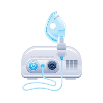 Nebulizer. medical machine with mask and aerosol compressor for oxygen therapy. hospital breath treatment equipment for asthma, pneumonia, bronchitis.