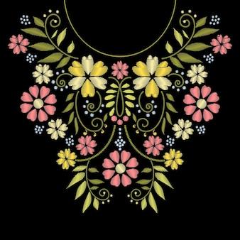 꽃 패턴 일러스트와 함께 넥 라인 자수