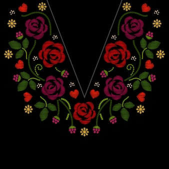 Neck line embroidery with roses flowers   illustration. f